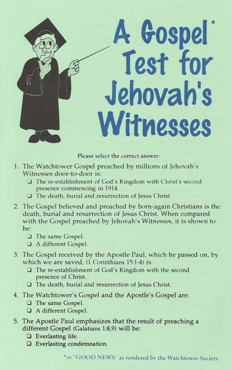Image result for gospel test for jehovah's witnesses
