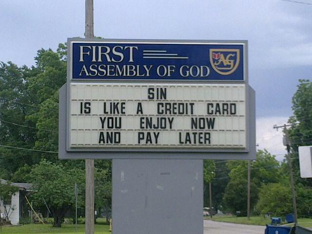 Sin like a credit card